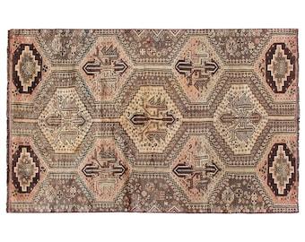 5x7 rug brown rug geometric rug faded rug persian rug hand