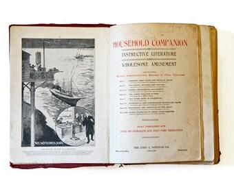 Social Etiquette Guide, Antique 1900s Book, Household Companion Book, Vintage Self Help Book, Modals Etiquette, Victorian Popular Poets