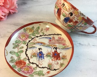 Kutani Geishas Cranes Willows Teacup Saucer Sets Creamer Sugar Dessert Plate Orphans Choose Antique Fragile Eggshell Fine Bone China Japan