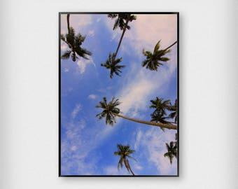 Palm Trees Print | Tropical | Blue - Purple | Beach - Summer - Poster