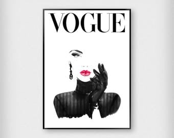 Vogue Cover Illustration Print | Fashion | Black - White - Red | Magazine - Model - Poster