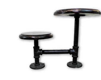 Industrial Pipe and Wood 2 Tier Display Stand Pedestal