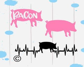 Show pig svg, Pig Svg, Farm svg, Farm animals svg, Heartbeat, shirt, Bacon svg, Cricut, Cameo, Cut file, Files, Clipart, Svg, DXF, Png, Eps