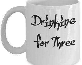 Drinking For Three Funny Party Men's Coffee Mug 1D