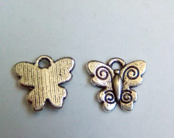 5 charms 12x12mm Silver butterflies