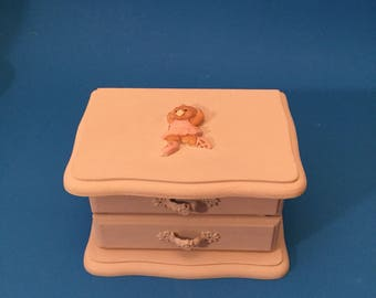 Upcycled Small  Jewelry Box. Little Girls Jewelry Box.