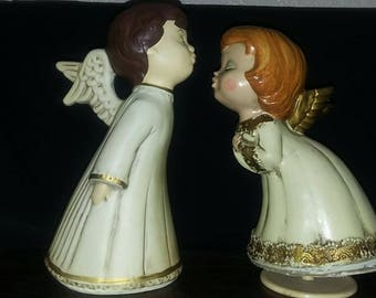 Vintage Kissing Angels with Music Box