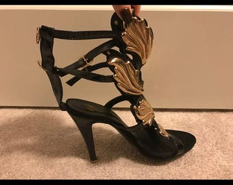 TEMPORARY PRICE CUT Black and Gold Wing Heel s