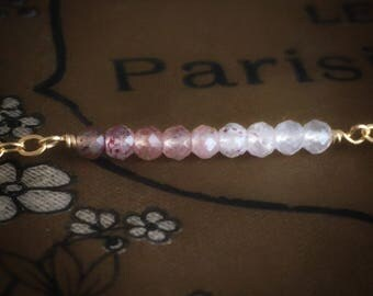 Strawberry quartz bar bracelet,gemstones gold bar bracelet,dainty ombre bar bracelet,strawberry quartz jewelry,delicate minimalist bracelet