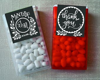 Custom Hand lettered Tic Tac Labels Mint To Be- Printable printed Wedding Favors label chalkboard, rustic