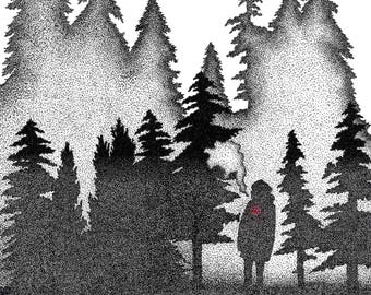 Pointillism Print - Down In The Forest