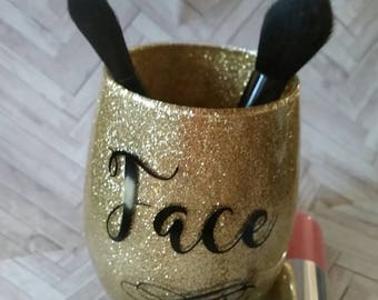 Makeup brush holder- Face makeup brush- Makeup storage- Vanity storage- Gift for makeup lover- Glitter makeup holder- Sparkle storage- Brush
