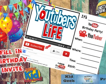YouTube Birthday Party invitation! Cool and unique Youtuber invite!