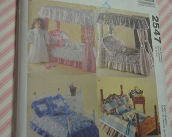 McCalls 2547 Bedroom Ensemble, Kitten Nightgown and Slippers for 18 Inch Doll Sewing Pattern - UNCUT