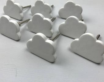 Set of 10 Pretty White Ceramic CLOUD Knobs/Drawer Pulls