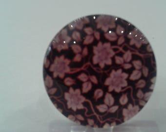Adjustable silver ring 925 purple flowers