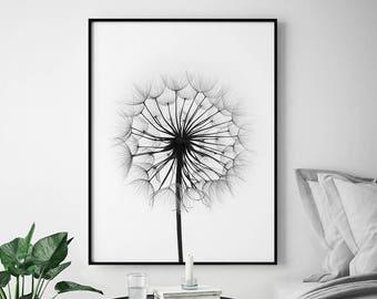 Monochrome Dandelion Print, Modern wall art poster, Modern Minimalist Art Nature print, Black & White Decor Modern Minimalist