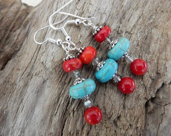 Turquoise and Red Coral Earrings, Red  Coral Earrings, Turquoise Earrings, Southwest Earrings, Western Earrings, Free Shipping Earrings