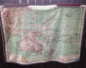 OCEANIA Map minky blanket - vintage Australia map baby cuddle blankie - shoulder wrap, wheelchair lap blanket - ready to ship