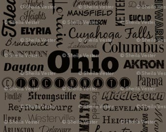 Ohio Cities fabric - OH typography fabric by the yard - gray and black - red and black