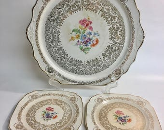 22 Karat Gold Warranted Queen Ann Cake Plate and 2 Plates Union Made  | Colonial China | Made in USA China | Gold China | Vintage China