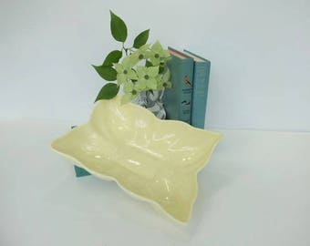 Mid Century Modern Yellow Dogwood Blossom Flower Dish, Candy Dish, Jewelry Dish