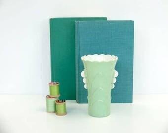 Vintage 1940's Painted Milk Glass Vase, Jadeite Color