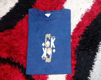 RARE!!! Vintage Calvin Klien Blue Color Tee Shirt Made in USA Printing Screen