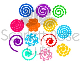 Rolled Paper Flower 3d template SVG, DXF cut file for silhouette cameo and cricut