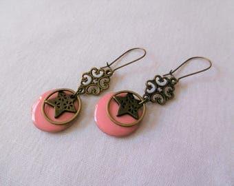Sequins Pink salmon, Bohemian, enamel earrings