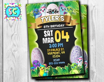 Hatchimals Invitation Card Printable Party Supplies Invitation Made To Order Birthday Decorations