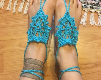 Crocheted barefoot sandals foot jewelry, chain 20% discount