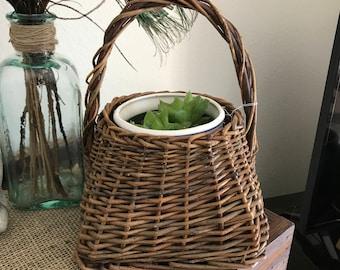 Vintage wood  wicker basket  price reduced