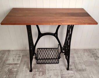 Desk, Antique Singer Sewing Machine Base w/Walnut & Mesquit Wood Top