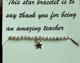 Silver Star Teacher's Bracelet and Poem