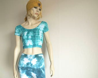 Hand dyed CropTop S green, hippie girl, wear, batik, Woodstock