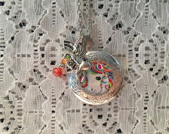 Rainbow Unicorn Charm Locket Pendant/Rainbow Unicorn Jewelry/Rainbow Unicorn Pendant/Unicorn Locket