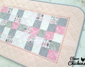 Waterproof Baby Change Mat, Change Pad Wipeable, Unique Baby Shower Gift, New Baby Gift, Baby Girl, Newborn Gift, Owls White Pink Grey