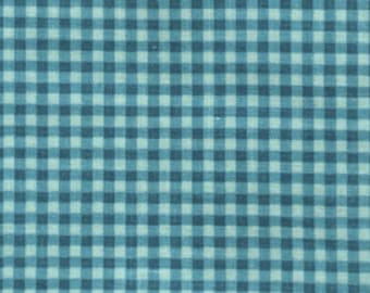 Fabric ruffled gingham Blue Lagoon coupon 65 x 100 cm