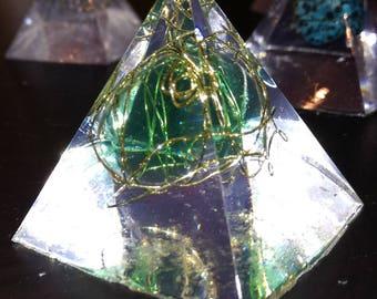 Blue Glass Obsidian minimalist Orgone Pyramid