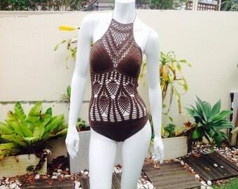 Dark Brown Crochet Monokini with Pineapple Pattern, 1-piece Crochet Swimwear