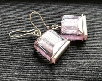 Earrings ~VOLTA VI~ sterling silver and pink glass beads