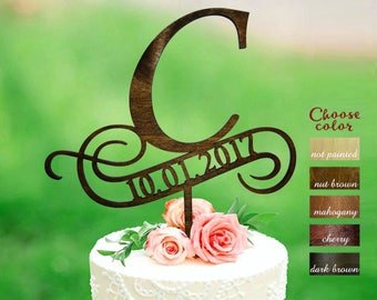 Letter c cake topper, cake toppers for wedding, letter and date wedding topper, initial cake topper, cake topper c, cake topper date, CT#143