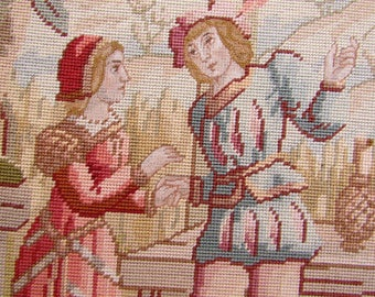 Antique Renaissance Revival Needlepoint Wool Tapestry
