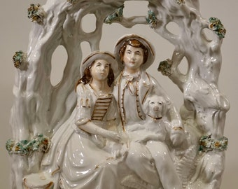 Antique Staffordshire Large Pottery Group Young Couple