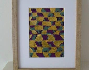 Weaving in Yellow with Purple and Green Gift Idea Original Art Ready To Ship