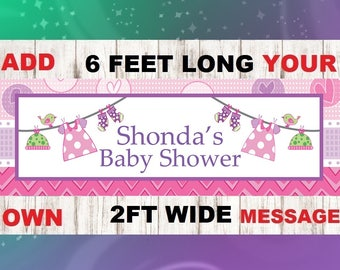 Baby Shower Banner, Girl Baby Shower Banner, Baby Girl, baby shower decorations, Pink and purple Baby Shower