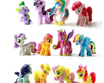 My Little Pony cake toppers birthday party action figures movie toy 12 pieces My Little Pony cake topper party favors horses rainbow dash