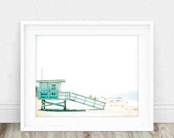 Beach Print - Beach Decor, Beach Printable, Lifeguard Tower, Beach Photography, Coastal, Coastal Wall Art, Summer Decor, Beach Life