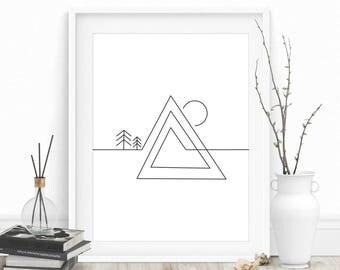 Geometric Mountain Print, Mountain Wall Art, Black and White, Geometric Mountain Wall Art, Printable Home Decor, Mountains, Mountain Print